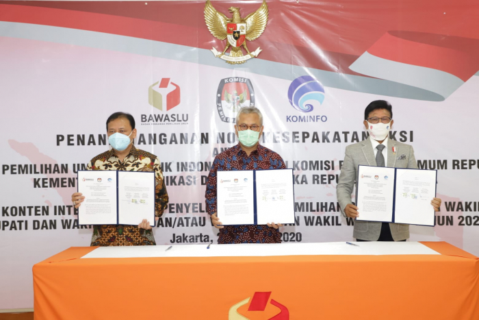 Kominfo, KPU, dan Bawaslu Deklarasi Internet Lawan Hoaks di Pilkada