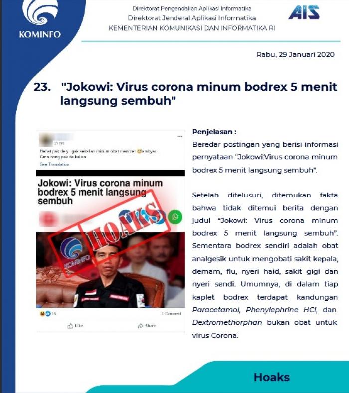 Tim AIS Kominfo Identifikasi 86 Hoaks Virus Corona